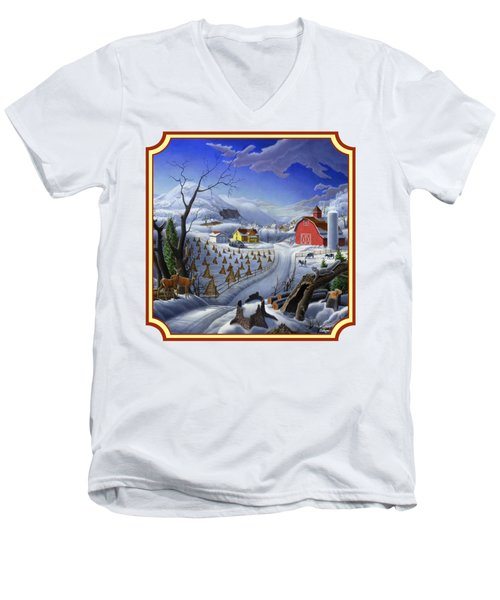 Rural Winter Country Farm Life Landscape - Square Format Men's V-Neck T-Shirt by Walt Curlee