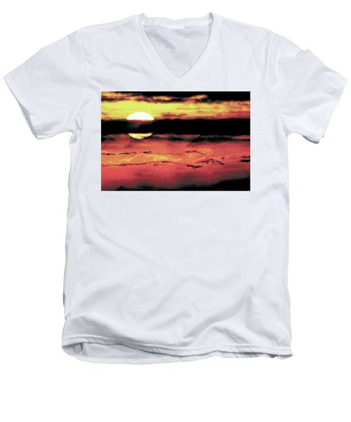 Men's V-Neck T-Shirt featuring the painting Russet Sunset by Paula Ayers