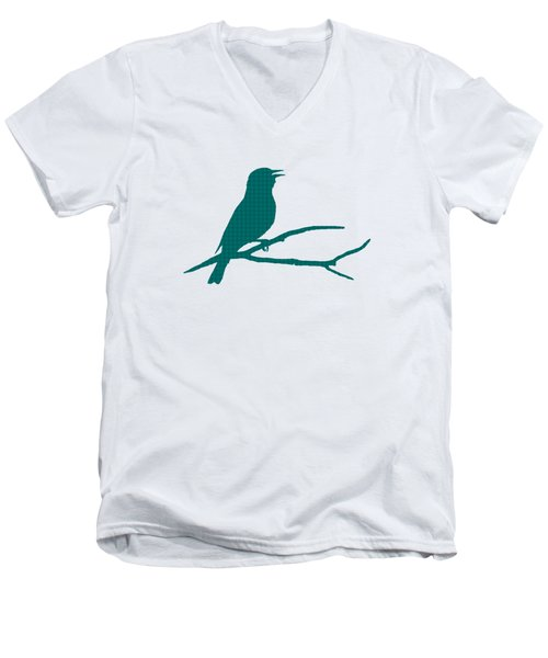 Men's V-Neck T-Shirt featuring the mixed media Rustic Green Bird Silhouette by Christina Rollo