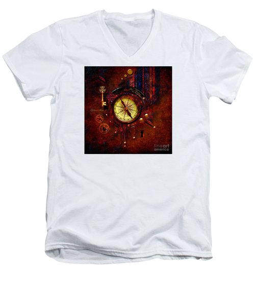 Men's V-Neck T-Shirt featuring the digital art Rusty Time Machine by Alexa Szlavics