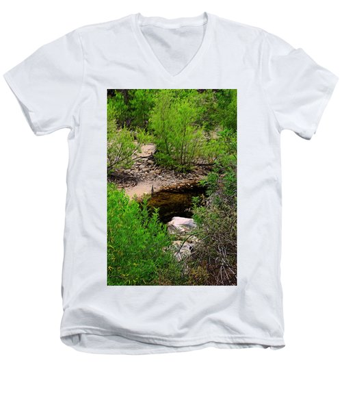 Men's V-Neck T-Shirt featuring the photograph Sabino Canyon Op44 by Mark Myhaver