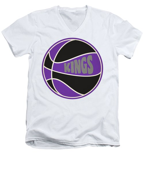Men's V-Neck T-Shirt featuring the photograph Sacramento Kings Retro Shirt by Joe Hamilton