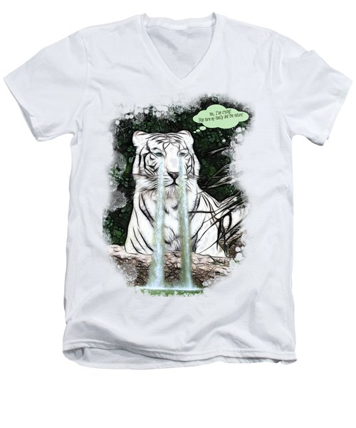 Men's V-Neck T-Shirt featuring the painting Sad White Tiger Typography by Georgeta Blanaru