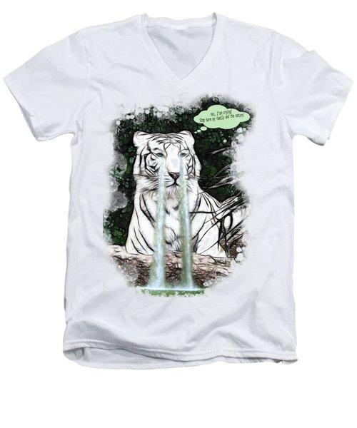 Sad White Tiger Typography Men's V-Neck T-Shirt