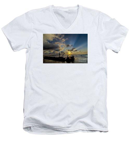 Men's V-Neck T-Shirt featuring the photograph Safe Shore 03 by Arik Baltinester