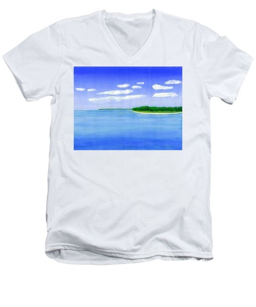 Men's V-Neck T-Shirt featuring the painting Sag Harbor, Long Island by Dick Sauer