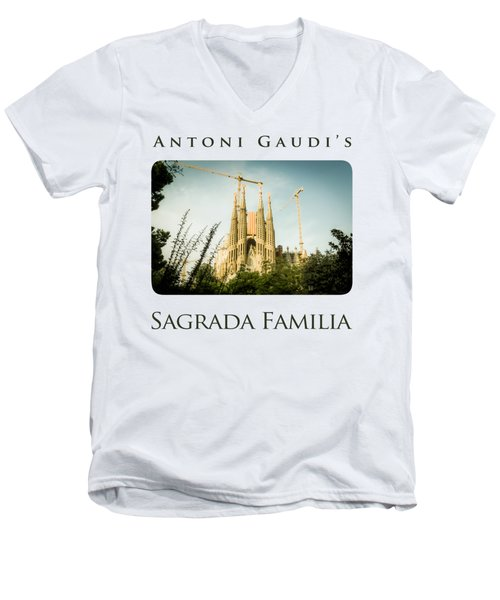 Sagrada Familia With Catalonia's Flag Men's V-Neck T-Shirt by Alejandro Ascanio