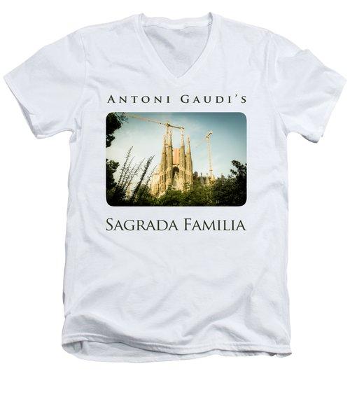 Sagrada Familia With Catalonia's Flag Men's V-Neck T-Shirt