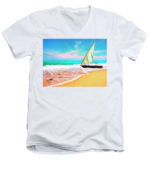 Sail Boat On The Shore Men's V-Neck T-Shirt