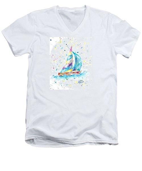 Sailboat By Jan Marvin Men's V-Neck T-Shirt