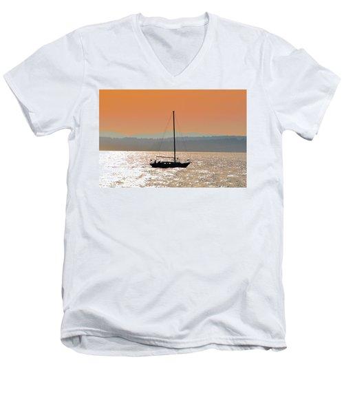 Sailboat With Bike Men's V-Neck T-Shirt