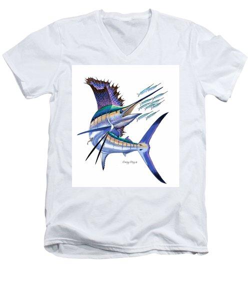 Sailfish Digital Men's V-Neck T-Shirt by Carey Chen