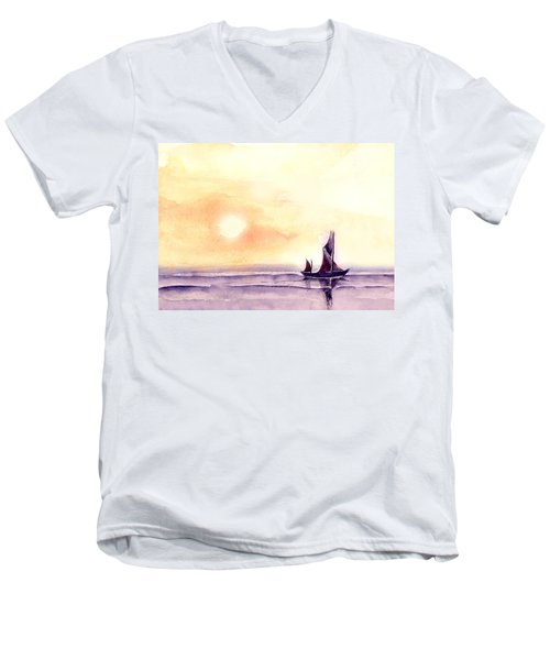 Men's V-Neck T-Shirt featuring the painting Sailing by Anil Nene