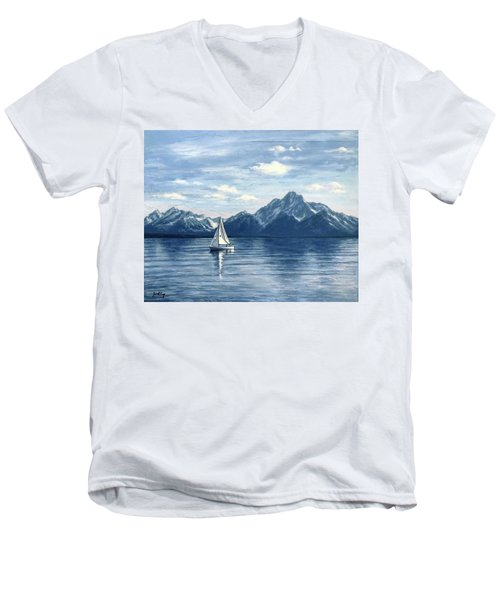 Sailing At The Grand Tetons Men's V-Neck T-Shirt