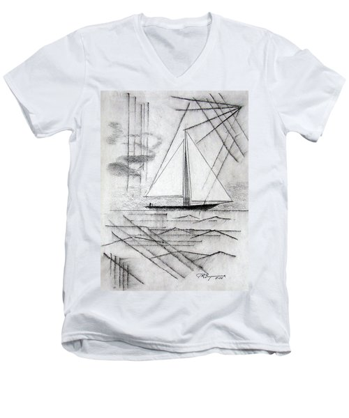 Sailing In The City Harbor Men's V-Neck T-Shirt by J R Seymour