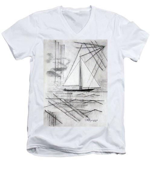 Sailing In The City Harbor Men's V-Neck T-Shirt