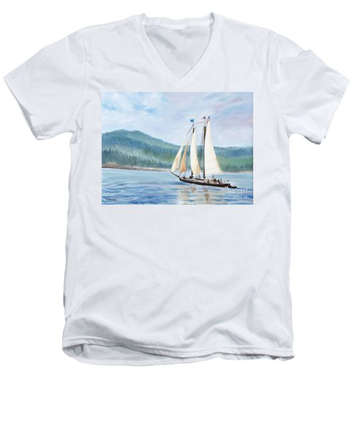 Sailing Into Castine Harbor Men's V-Neck T-Shirt