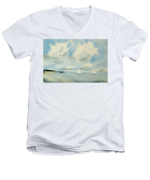 Sailing Into A Calm Anchorage Men's V-Neck T-Shirt