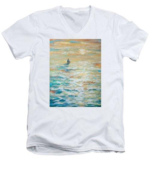 Sailing Into The Sunset Men's V-Neck T-Shirt by Linda Olsen