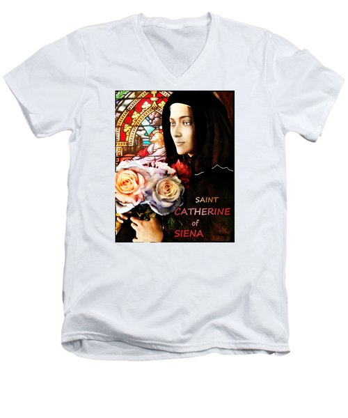Men's V-Neck T-Shirt featuring the painting Saint Catherine by Suzanne Silvir