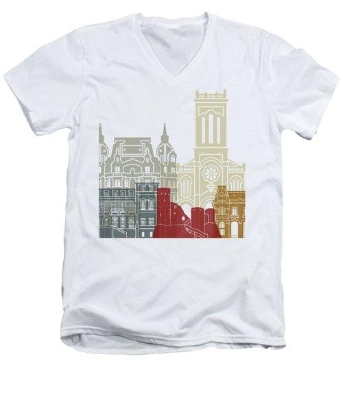 Saint Etienne Skyline Poster Men's V-Neck T-Shirt by Pablo Romero