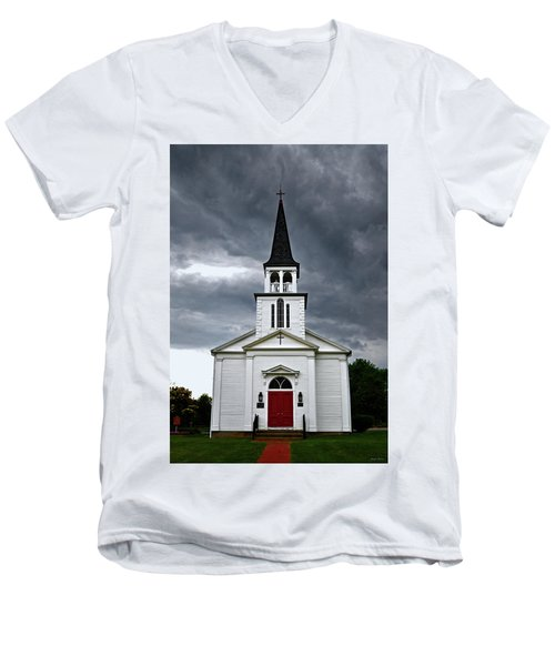 Men's V-Neck T-Shirt featuring the photograph Saint James Episcopal Church 002 by George Bostian