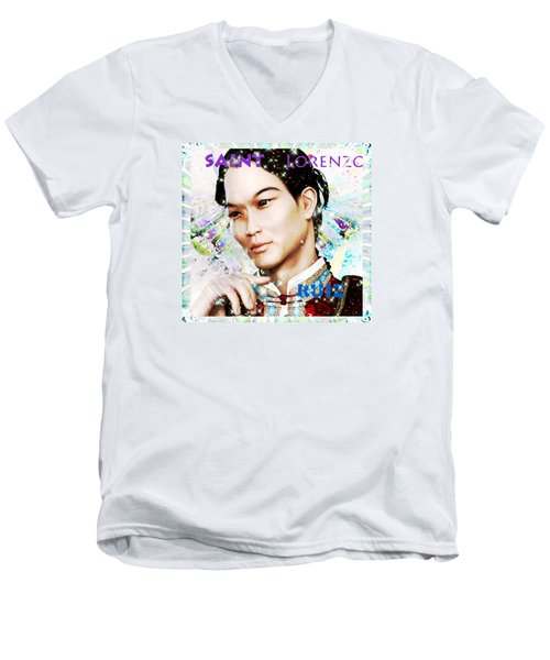 Men's V-Neck T-Shirt featuring the painting Saint Lorenzo Ruiz Of The Philippines by Suzanne Silvir