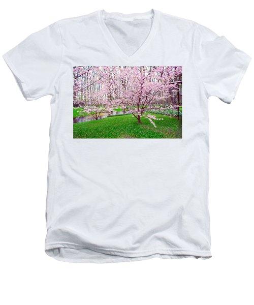 Men's V-Neck T-Shirt featuring the photograph Sakura Bloom In Keukenhof Garden by Jenny Rainbow