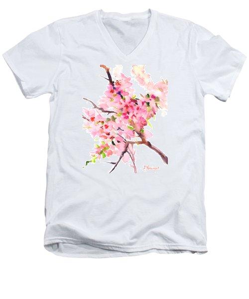 Sakura Cherry Blossom Men's V-Neck T-Shirt by Suren Nersisyan