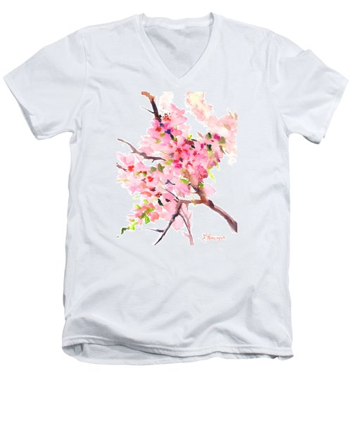 Sakura Cherry Blossom Men's V-Neck T-Shirt
