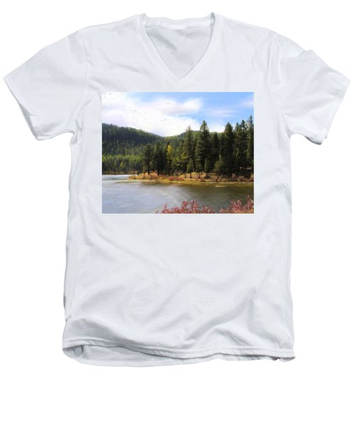Salmon Lake Montana Men's V-Neck T-Shirt