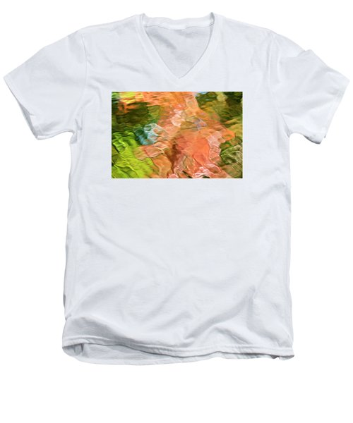Salmon Mosaic Abstract Men's V-Neck T-Shirt