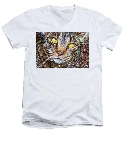 Sam The Tabby Cat Men's V-Neck T-Shirt