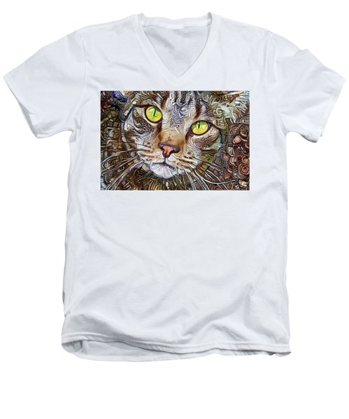 Sam The Tabby Cat Men's V-Neck T-Shirt