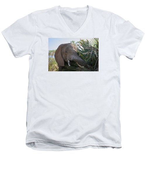 Men's V-Neck T-Shirt featuring the photograph Samburu Elephant by Gary Hall