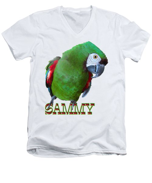 Sammy The Severe Men's V-Neck T-Shirt by Zazu's House Parrot Sanctuary