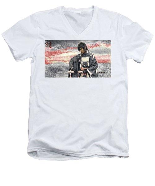 Samurai Warrior Men's V-Neck T-Shirt by Ian Gledhill