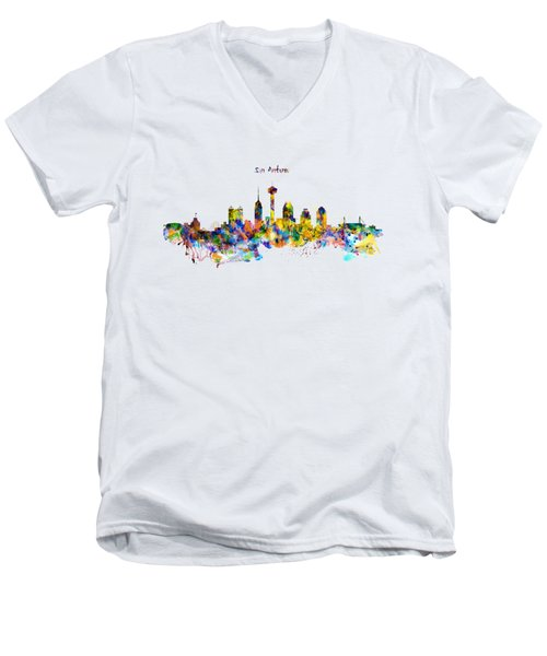 San Antonio Skyline Silhouette Men's V-Neck T-Shirt by Marian Voicu