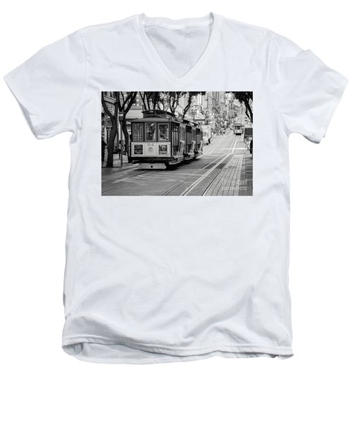 Men's V-Neck T-Shirt featuring the photograph San Francisco Cable Cars by Eddie Yerkish