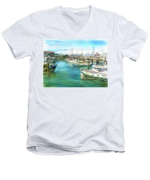 San Francisco Fishing Boats Men's V-Neck T-Shirt by Michael Cleere