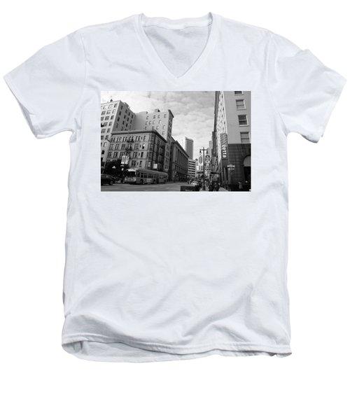 San Francisco - Jessie Street View - Black And White Men's V-Neck T-Shirt by Matt Harang