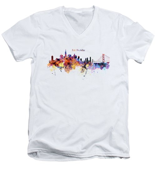 San Francisco Watercolor Skyline Men's V-Neck T-Shirt