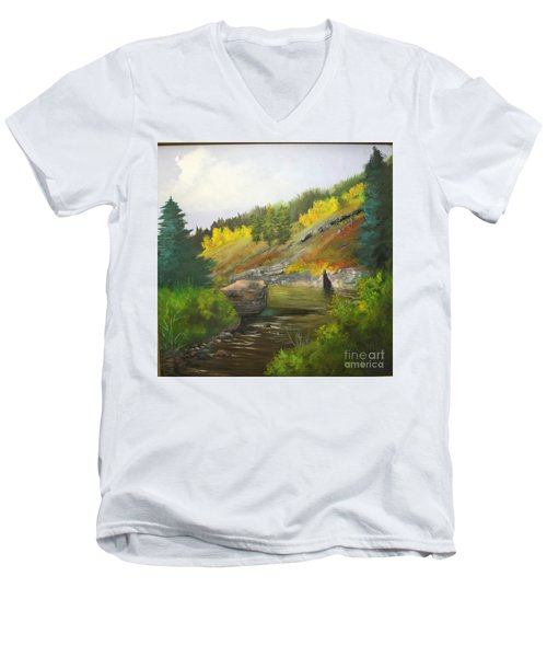 Men's V-Neck T-Shirt featuring the painting San Juan River by Barbara Haviland