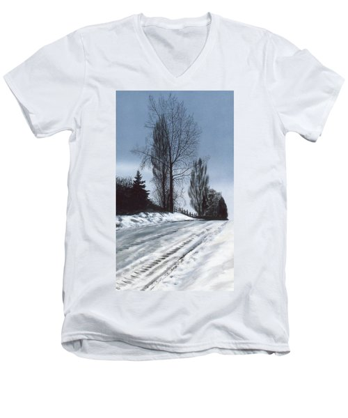 San Juan Snow Men's V-Neck T-Shirt by Laurie Stewart