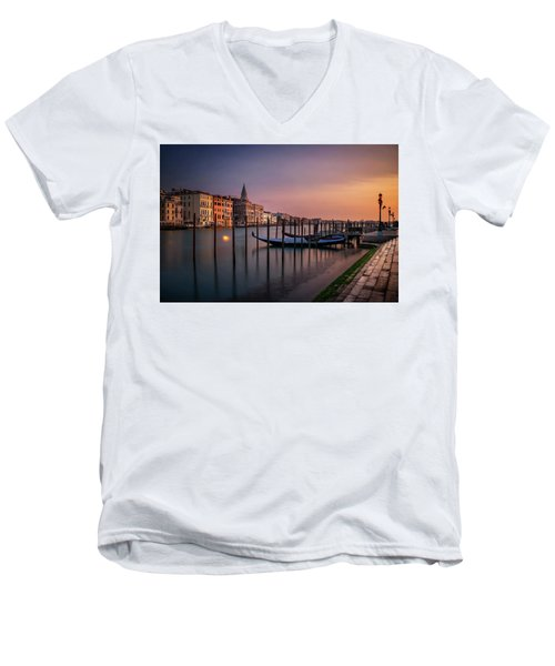 San Marco Campanile With Gondolas At Grand Canal During Calm Sunrise, Venice, Italy, Europe. Men's V-Neck T-Shirt