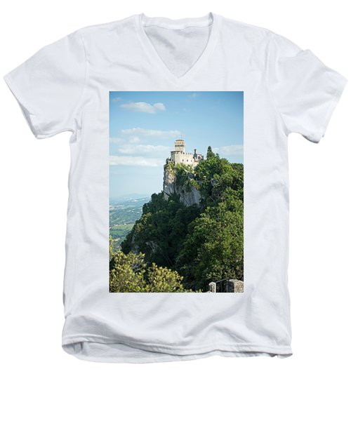 San Marino - Guaita Castle Fortress Men's V-Neck T-Shirt by Joseph Hendrix