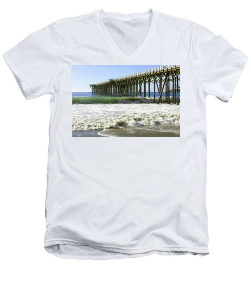 Men's V-Neck T-Shirt featuring the photograph San Simeon Pier by Art Block Collections