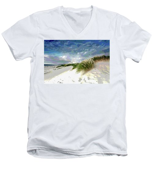 Sand And Surfing Men's V-Neck T-Shirt by Charles Shoup