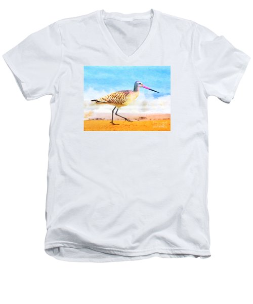 Men's V-Neck T-Shirt featuring the painting Sand Between My Toes ... by Chris Armytage