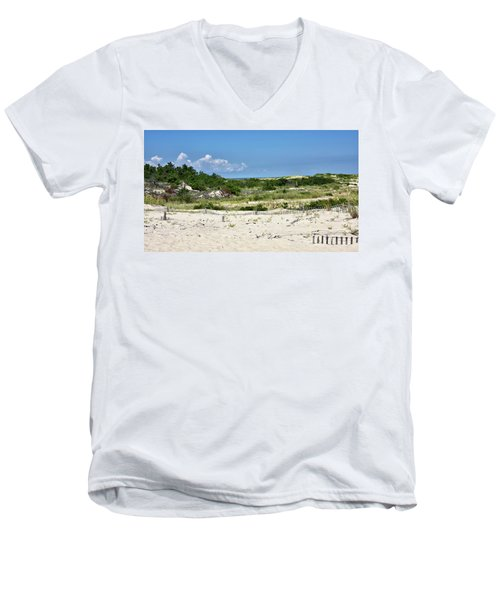 Men's V-Neck T-Shirt featuring the photograph Sand Dune In Cape Henlopen State Park - Delaware by Brendan Reals